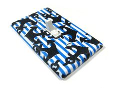 Anchor Stripes Blue and White Light Switch Cover by ModernSwitch, $10.00
