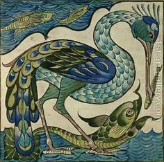 Walter Crane Heron and Fish Art Nouveau Walter Crane Tile ref WC heron from Pilgrim Tiles Tile Art, Art Calendar, Painting, Walter Crane, Art Nouveau, Artwork, Prints, Arts And Crafts Movement, Bird Art