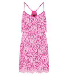 Pink Floral Double Layer Lace Hem Dress