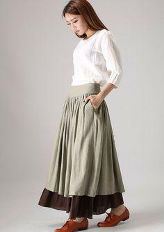 Frau Maxi Leinenrock (851) von xiaolizi fashion auf DaWanda.com
