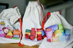 DIY: Toy bags with pics of your kids own toys. I've been looking for something like this!  Yahoo!