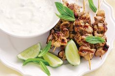 Barbecued lime and mint chicken skewers http://www.taste.com.au//recipes/21164/barbecued+lime+and+mint+chicken+skewers