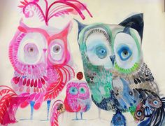 Owl Family, Art Activities For Kids, Sketchbook Inspiration, Colorful Paintings, Pet Birds, Birds 2, Acrylic Painting Canvas, Spirit Animal, Art Education