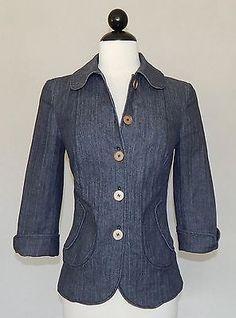 PIAZZA SEMPIONE Blue Denim Textured Fitted Button Cotton Silk Jacket  IT Size 40