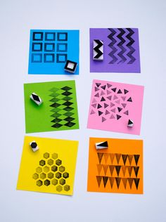 Geometric stamps. Made from erasers!