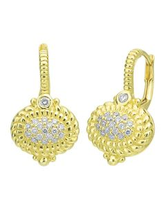 Judith Ripka La Petite Collection 18KT Yellow Gold Pave Center Diamond Earrings with Bezel Set Diamond Accents