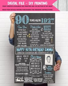 1927- 90th Decor Personalized Birthday Chalkboard Sign with photo ***Digital File*** - DIY PRINTING (1927-Photo) by EmmaSueBowtique on Etsy