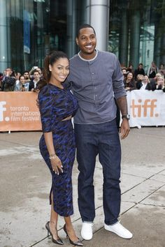 TV personality La La Anthony and NBA player Carmelo Anthony at Mandela: Long Walk to Freedom #tiff13
