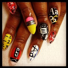 We're pretty impressed with the careful, almost typed lettering on the index finger of these nails, Back to School Nail Art, Fall Nails, Cute Nail Designs, Nail Art, Nail It! Magazine