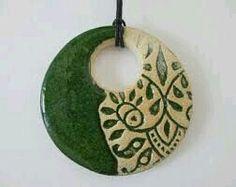 Green ceramic pendant ceramic pendant necklace ethnic ceramic necklace pottery handmade bohemian pendant ceramic jewelry gift for girl Ceramic Necklace, Ceramic Pendant, Ceramic Jewelry, Ceramic Beads, Clay Beads, Polymer Clay Jewelry, Ceramic Pottery, Pottery Art, Ceramic Art
