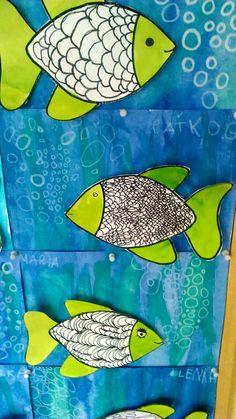 Easy Art For Kids, Art Lessons For Kids, Spring Art, Summer Art, 2nd Grade Art, Underwater Art, Sea Crafts, Art N Craft, Art Graphique