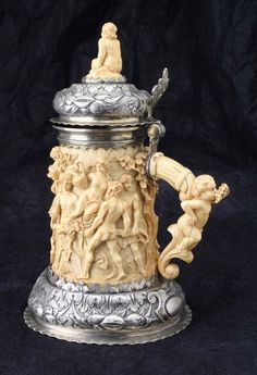 Antique German silver and ivory beer tankard, c. late 17th Cent.