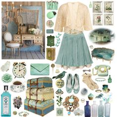 """""""Untitled"""" by zoella on Polyvore - great example of faded summer colors and textures look old"""