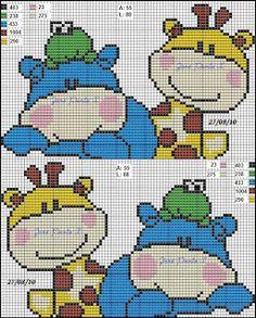 Hippo and Giraffe Baby Cross Stitch Patterns, Cross Stitch For Kids, Cross Stitch Boards, Just Cross Stitch, Cross Stitch Baby, Cross Stitch Animals, Cross Stitch Designs, Pixel Crochet Blanket, Crochet Chart