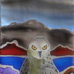 Silk Scarf Accessory Hand Painted- Owl Art to Wear- Shawl Wrap Unique Gift Woman Wife- made in the Hudson Valley NY