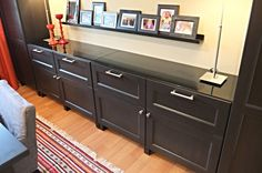 Closed storage is a must, especially if you love to entertain. Keep linens, serving items and more nearby with a custom buffet of BESTA cabinets!