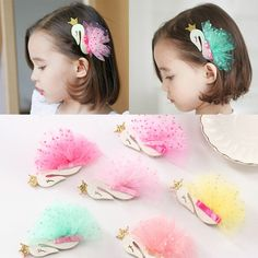 826a73d2b09 Girls Kids Cygnus Headdress Yarn Mesh Hair Clips Sequins Accessories  Hairpins  fashion  clothing
