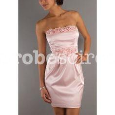 Albane - robe de soirée cintrée chic à fleurs rose pastel réf 5812