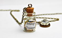 Smaug's Treasure and Arkenstone Necklace - The Hobbit Jewelry - Bottle Necklace - Lord of the Rings Jewelry