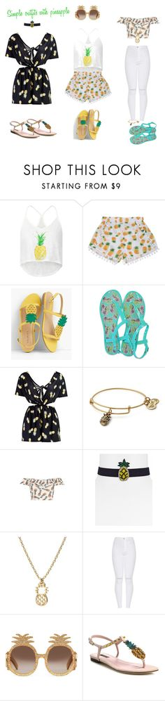 """""""Pineapple"""" by atene-ziema ❤ liked on Polyvore featuring WithChic, Talbots, All For Color, Boohoo, Alex and Ani, Aqua, Gucci and Dolce&Gabbana"""