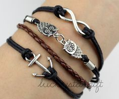 Lovely mini anchor owls infinite & cool charm bracelet with black rope brown leather braided bracelet style bracelet-Q126by luckystargift, $4.69