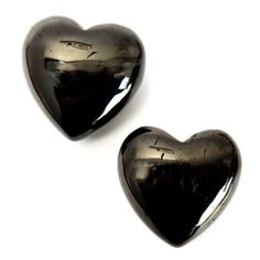 Jet Heart 02 Pair Black Stone Smooth Puffy Crystal Set