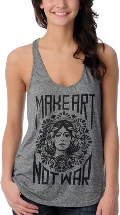 Obey Girls Make Art Not War Charcoal Heather Tank Top at Zumiez : PDP my-style Looks Style, Style Me, Mein Style, Make Art, Love Fashion, Female Fashion, Urban Fashion, High Fashion, Cool Shirts