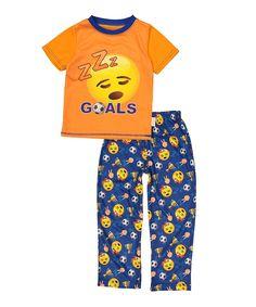 Orange & Blue 'Goals' Pajama Top & Bottoms - Toddler & Boys