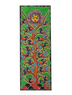 ideas tree of life poster beautiful Madhubani Paintings Peacock, Madhubani Art, Indian Art Paintings, Pine Tree Painting, Birch Tree Art, Coloring Book Art, Colouring, Watercolor Tattoo Tree, Kerala Mural Painting