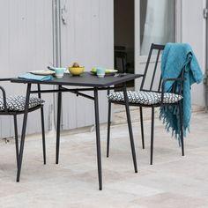 Salon de jardin table et 2 fauteuils en acier anthracite Bruge : Decoclico