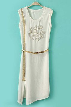 Gold Embellished Split Dress - Sheinside.com #telemarketing