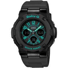 Baby-G Women's Analog-Digital Black Resin Strap Watch 44x40mm... ($110) ❤ liked on Polyvore