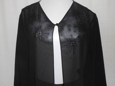 PAPELL BOUTIQUE EVENING Cover-up SHEER Top/Jacket Women Size M Black Beading  #AdriannaPapell #Blouse #EveningOccasion #ChristmasParty