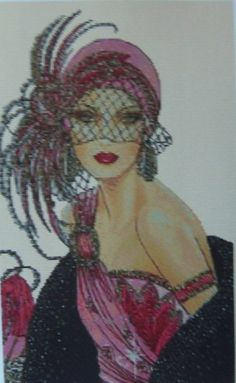 Amazing image is the creation of Flower Power37-UK......Cross Stitch Chart ART DECO LADY IN PINK DRESS No. 10vb-47
