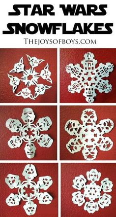 These Star Wars Snowflakes are the best. I can't decide which one is my favorite. These Star Wars Snowflakes are amazing to make. Star Wars fans everywhere will love seeing their favorite characters in snowflake form. Paper Snowflake Template, Paper Snowflake Patterns, Paper Snowflakes, Snowflake Diy Paper, Star Wars Birthday, Star Wars Party, Disney Birthday, Women Birthday, Regalos Star Wars