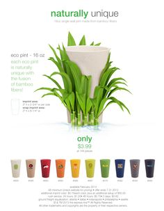Introducing the eco pint! This 16 ounce pint is made from bamboo fiber for as low as $3.99 for 144 pieces! If you are looking for an eco friendly item for this year this is the one!
