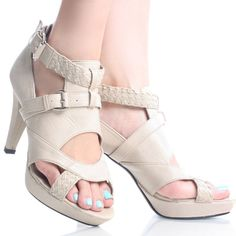 Bronze Metallic Strappy Zipper Women Stiletto High Heel Dress ...