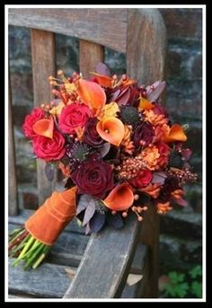 Fall Wedding Bouquet...purple touches for a pop of color orlandoweddingflowers/ www.weddingsbycarlyanes.com Please mention that you found them thru Jevel Wedding Planning