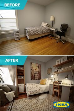 Downsizing into a small space can be challenging, both in terms of accommodating your belongings and having space for the activities you love. The IKEA Home Tour Squad worked to transform this spare bedroom into the perfect mother-in-law suite.