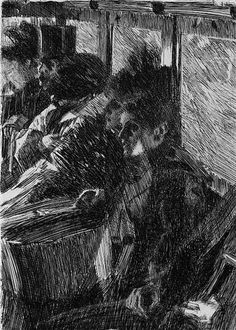 Anders Zorn - Swedish - Omnibus Etching, Hjert & Hjert edition of Signed in pencil. 10 ¾ x 7 ¾ inches. Art Sketches, Art Drawings, Academic Drawing, Art Moderne, Art Graphique, Figure Drawing, Printmaking, Graphic Art, Illustration Art