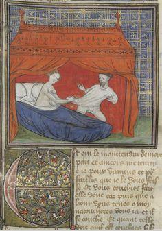 Bibliothèque nationale de France, Arsenal 3480, detail of f.33 (Lancelot seduced). Lancelot du Lac. Paris, c.1405.