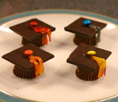 Easy to make chocolate graduation caps! Click picture for step-by-step instructions!