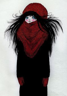 ANI CASTILLO; cute illustration looks a bit like me in winter, especially hair