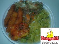 Para hoje, serviremos: Carne com mandioca, isca de frango frito, massa, refogado de abobrinha, arroz com feijão mais salada. Mini R$ 8, media R$ 10, grande R$ 13. Disque marmitex 3329-3568