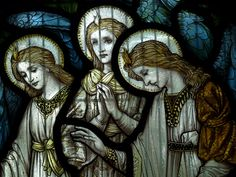 Angels - stained glass by Morris & Company ~     Lyndhurst Church of St. Michael & All Angels in Hampshire, England  is a neo-Gothic church designed by William White (who had worked with  George Gilbert Scott) and built between 1858-69.It contains several stained glass windows in the pre-Raphaelite style.   This is a detail from one such window in the south aisle which was  created by the William Morris Company.