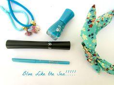Total Blue!!!!! #cosmetics #blue #eyepencil #mascara #nail #polish #productreview #beauty #Essence #Sephora