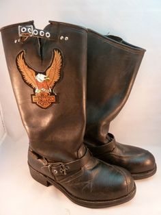 Harley Davidson Tall Black Leather Motorcycle Style Boots Women's Sz 8 Low Heels #HarleyDavidson #Motorcycle