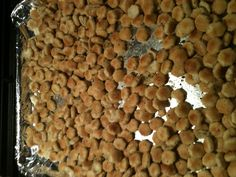 Italian seasoned oyster crackers...so yummy!  1/4 c oil 1 pkg. dry Italian dressing mix Garlic salt (to taste) Garlic powder (to taste) 1 pkg. oyster crackers Combine first 4 ingredients. Add oyster crackers. Stir to coat. Spread on cookie sheet and bake @ 250 for 15 minutes. Stir a couple times while baking. Enjoy!