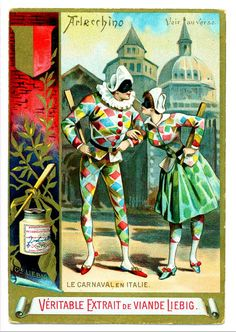 Liebig Carnival Costumes ~Harlequin and Columbine, Vintage Prints, Vintage Posters, Vintage Art, Pierrot Clown, Vintage Magazine, Harlequin Pattern, Send In The Clowns, Ballet Costumes, Carnival Costumes