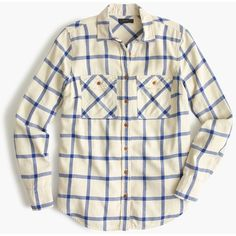 J.Crew Petite Boyfriend Shirt (155 CAD) ❤ liked on Polyvore featuring tops, petite, white flannel shirt, white tops, long flannel shirts, checkered shirt and petite tops